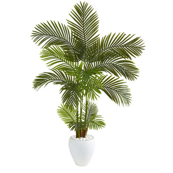 5 Areca Palm Artificial Tree in White Planter - SKU #T1247