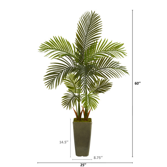 5 Areca Palm Artificial Tree in Green Planter - SKU #T1249 - 1