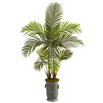 58 Areca Palm Artificial Tree in Vintage Metal Planter - SKU #T1250