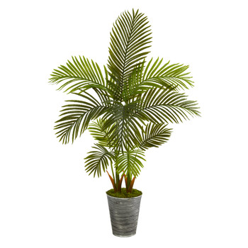 57 Areca Palm Artificial Tree in Decorative Tin Planter - SKU #T1251