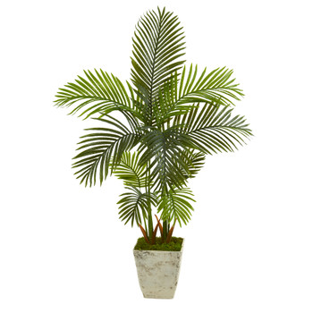 4.5 Areca Palm Artificial Tree in Country White Planter - SKU #T1252