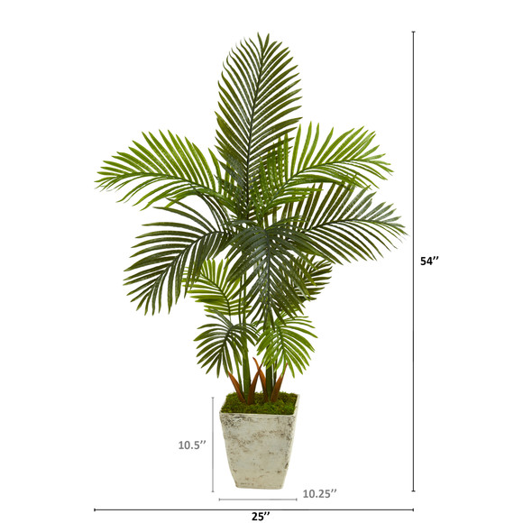 4.5 Areca Palm Artificial Tree in Country White Planter - SKU #T1252 - 1