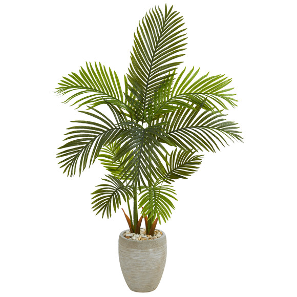 56 Areca Palm Artificial Tree in Sand Colored Planter - SKU #T1254