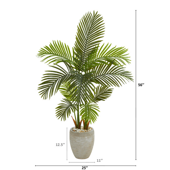 56 Areca Palm Artificial Tree in Sand Colored Planter - SKU #T1254 - 1
