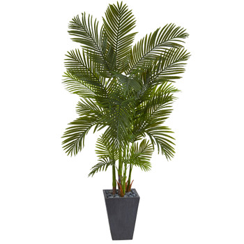 70 Areca Palm Artificial Tree in Slate Planter - SKU #T1256