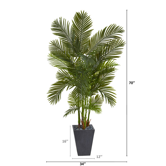 70 Areca Palm Artificial Tree in Slate Planter - SKU #T1256 - 1