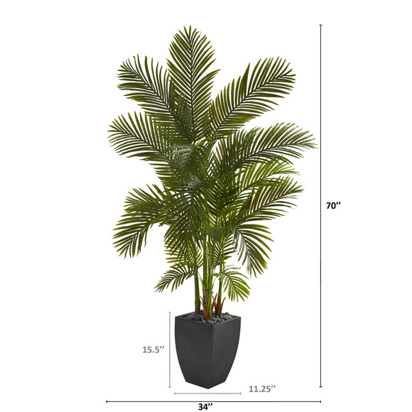 70 Areca Palm Artificial Tree in Black Planter - SKU #T1257 - 1