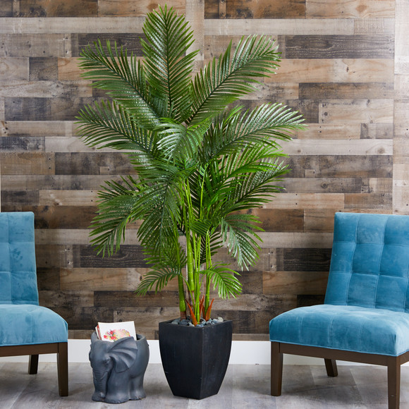 70 Areca Palm Artificial Tree in Black Planter - SKU #T1257 - 2
