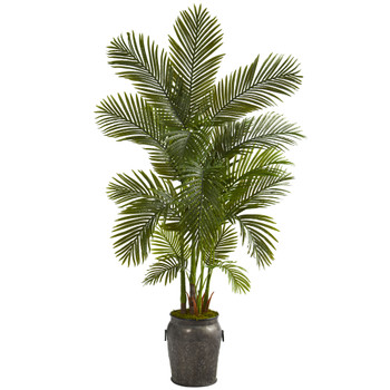70 Areca Palm Artificial Tree in Metal Planter - SKU #T1258