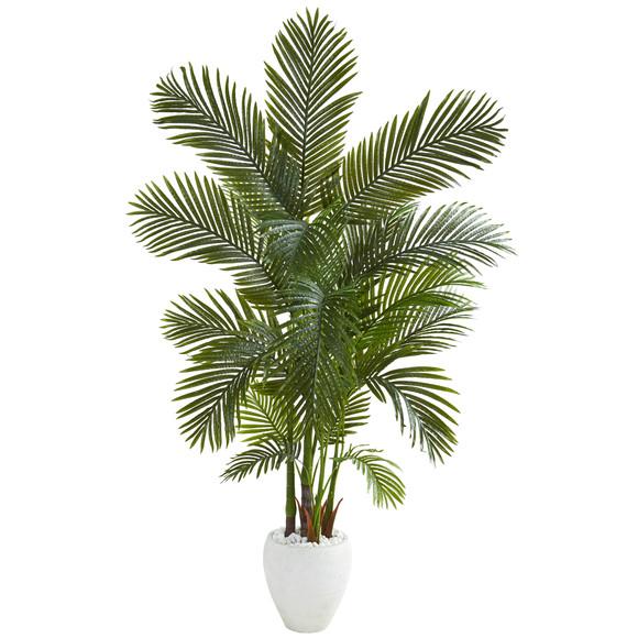 69 Areca Palm Artificial Tree in White Planter - SKU #T1259