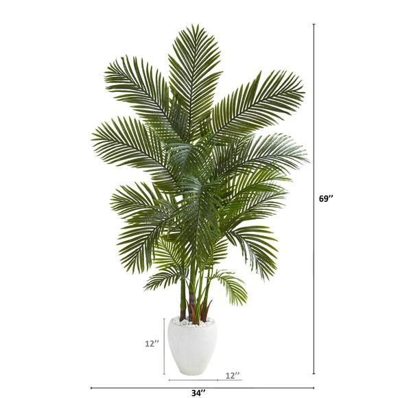 69 Areca Palm Artificial Tree in White Planter - SKU #T1259 - 1