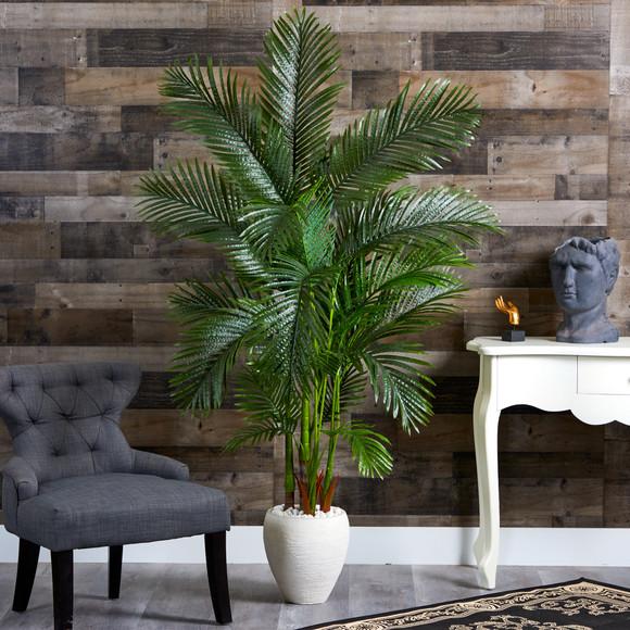 69 Areca Palm Artificial Tree in White Planter - SKU #T1259 - 2