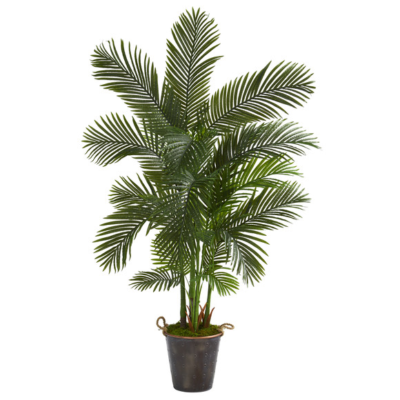 69 Areca Palm Artificial Tree in Decorative Metal Pail with Rope - SKU #T1261