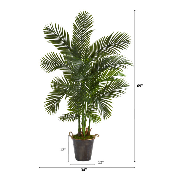 69 Areca Palm Artificial Tree in Decorative Metal Pail with Rope - SKU #T1261 - 1
