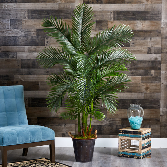 69 Areca Palm Artificial Tree in Decorative Metal Pail with Rope - SKU #T1261 - 2