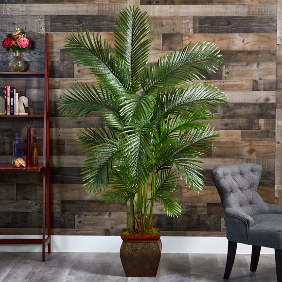 69 Areca Palm Artificial Tree in Decorative Planter - SKU #T1262 - 2