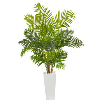 68 Hawaii Palm Artificial Tree in Tall White Planter - SKU #T1263