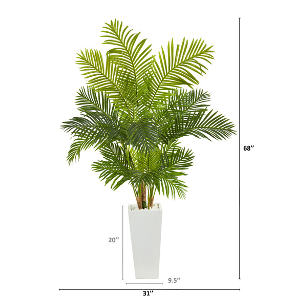 68 Hawaii Palm Artificial Tree in Tall White Planter - SKU #T1263 - 1
