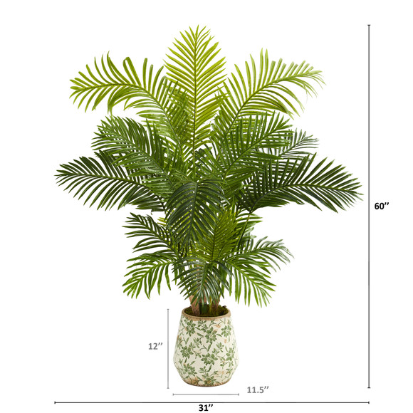 5 Hawaii Palm Artificial Tree in Floral Print Planter - SKU #T1266 - 1