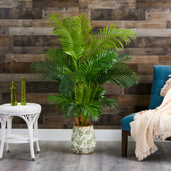 5 Hawaii Palm Artificial Tree in Floral Print Planter - SKU #T1266 - 2