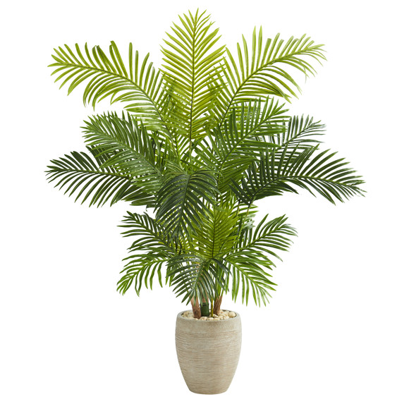 62 Hawaii Palm Artificial Tree in Sand Colored Planter - SKU #T1267