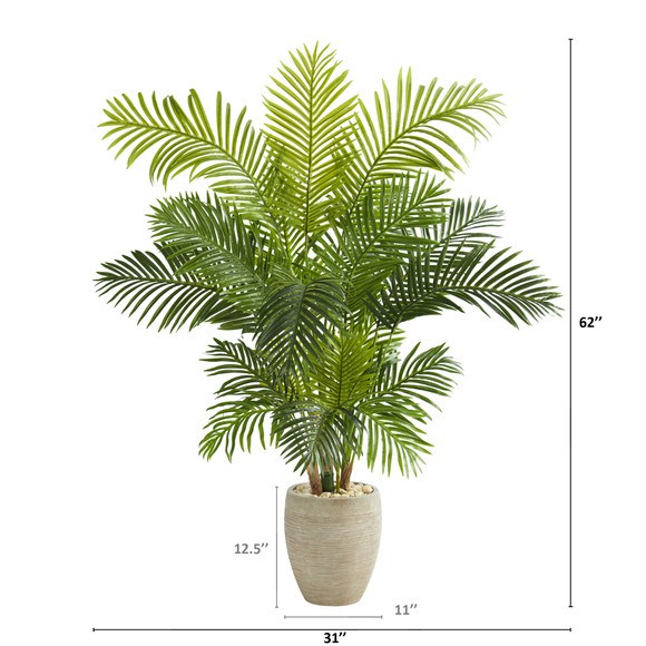 62 Hawaii Palm Artificial Tree in Sand Colored Planter - SKU #T1267 - 1