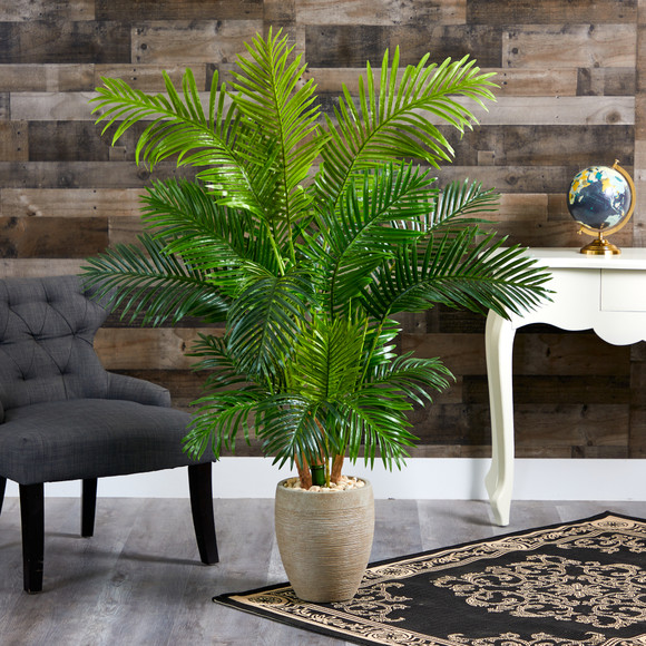 62 Hawaii Palm Artificial Tree in Sand Colored Planter - SKU #T1267 - 2