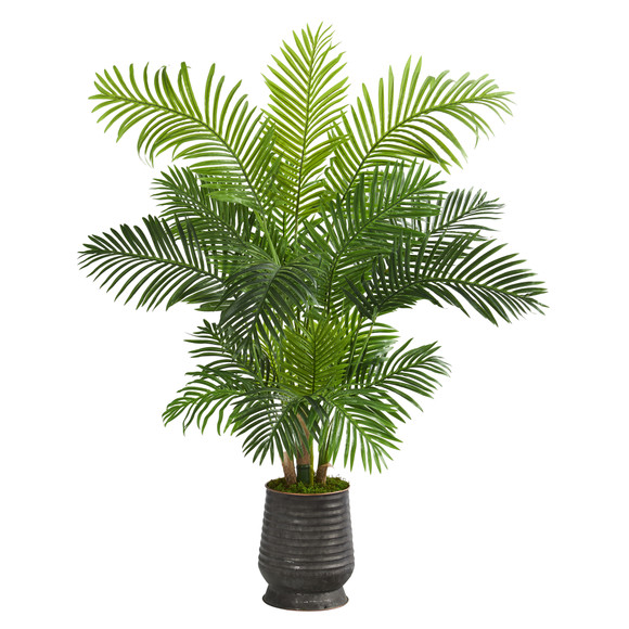 62 Hawaii Palm Artificial Tree in Ribbed Metal Planter - SKU #T1268