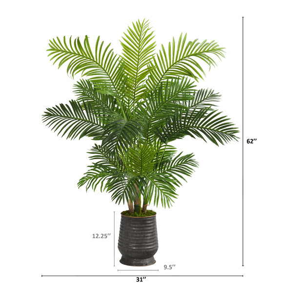 62 Hawaii Palm Artificial Tree in Ribbed Metal Planter - SKU #T1268 - 1