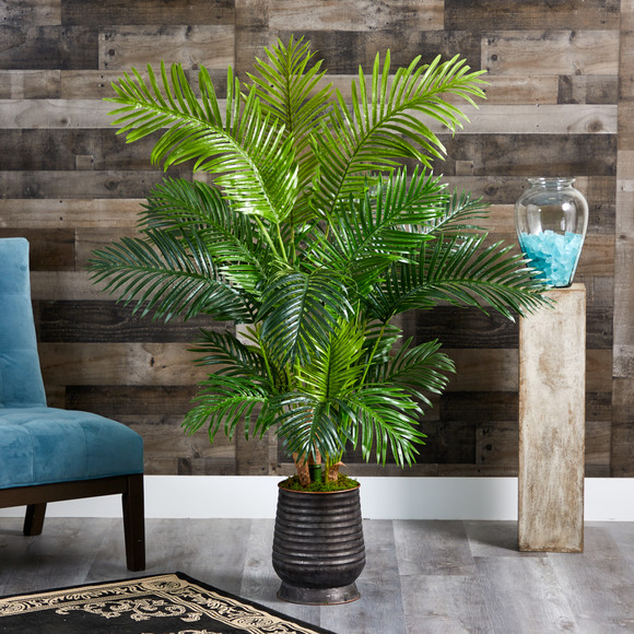 62 Hawaii Palm Artificial Tree in Ribbed Metal Planter - SKU #T1268 - 2