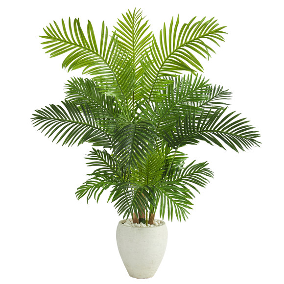 62 Hawaii Palm Artificial Tree in White Planter - SKU #T1269
