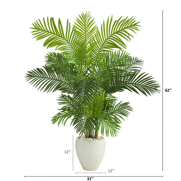 62 Hawaii Palm Artificial Tree in White Planter - SKU #T1269 - 1