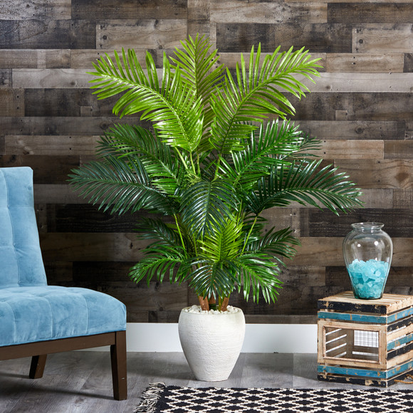 62 Hawaii Palm Artificial Tree in White Planter - SKU #T1269 - 2