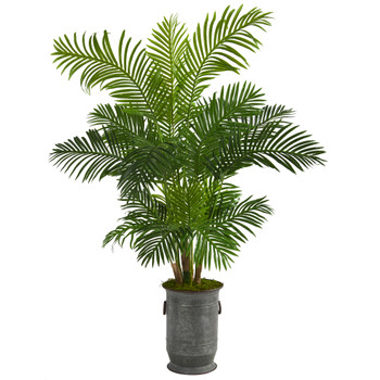 64 Hawaii Palm Artificial Tree in Vintage Metal Planter - SKU #T1270