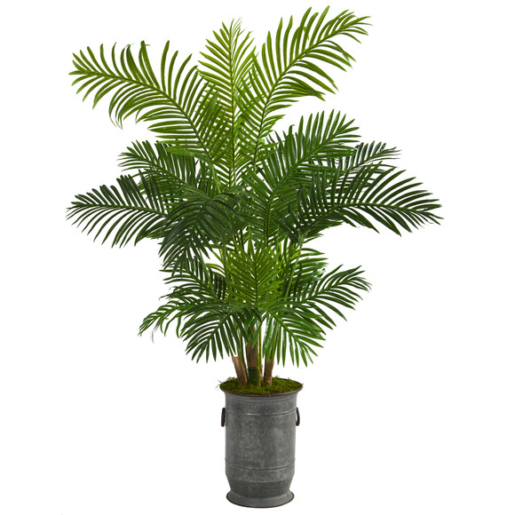 64 Hawaii Palm Artificial Tree in Vintage Metal Planter - SKU #T1270