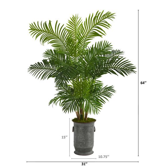64 Hawaii Palm Artificial Tree in Vintage Metal Planter - SKU #T1270 - 1