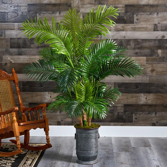 64 Hawaii Palm Artificial Tree in Vintage Metal Planter - SKU #T1270 - 2
