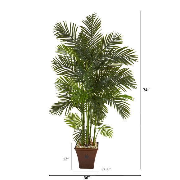 74 Areca Palm Artificial Tree in Brown Planter - SKU #T1271 - 1