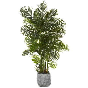 75 Areca Palm Artificial Tree in White Planter - SKU #T1272