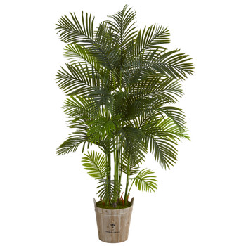 75 Areca Palm Artificial Tree in Farmhouse Planter - SKU #T1273