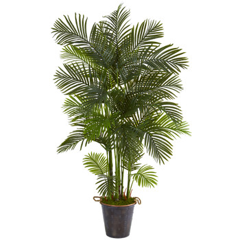 75 Areca Palm Artificial Tree in Decorative Metal Pail with Rope - SKU #T1274