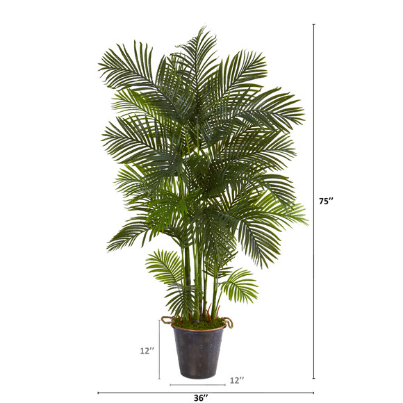 75 Areca Palm Artificial Tree in Decorative Metal Pail with Rope - SKU #T1274 - 1