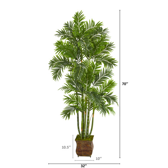 70 Areca Palm Artificial Tree in Metal Planter - SKU #T1276 - 1