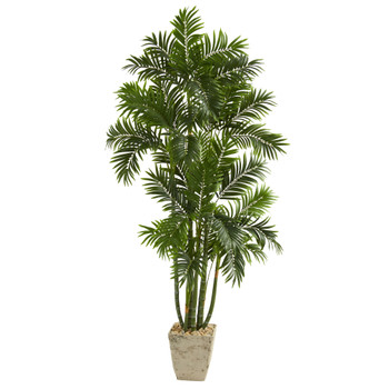 71 Areca Palm Artificial Tree in Country White Planter - SKU #T1277