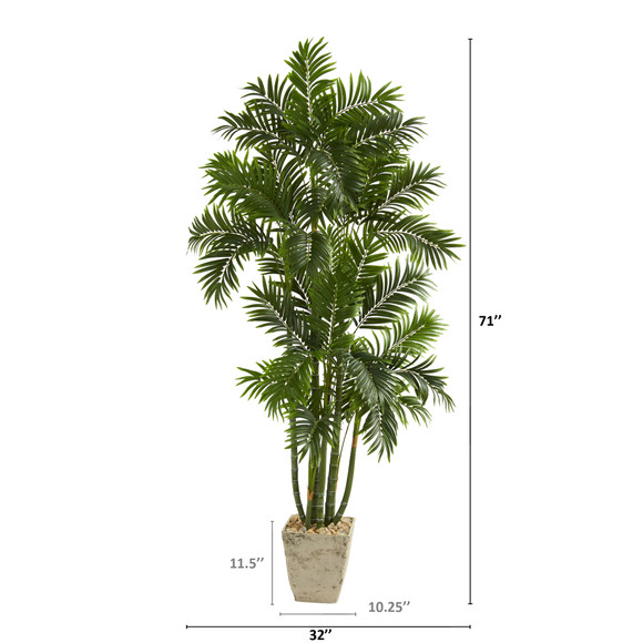 71 Areca Palm Artificial Tree in Country White Planter - SKU #T1277 - 1