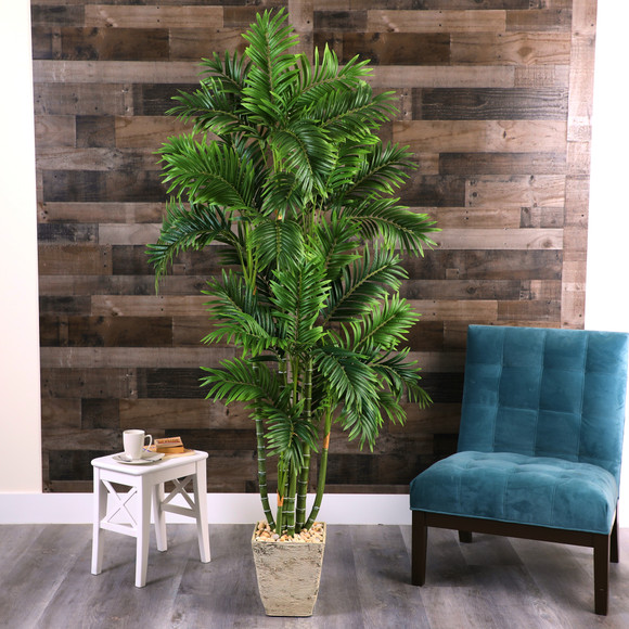 71 Areca Palm Artificial Tree in Country White Planter - SKU #T1277 - 2