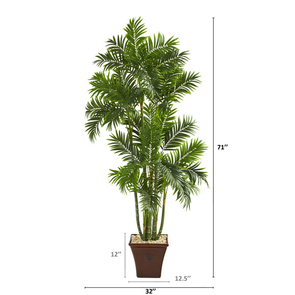 71 Areca Palm Artificial Tree in Brown Planter - SKU #T1278 - 1