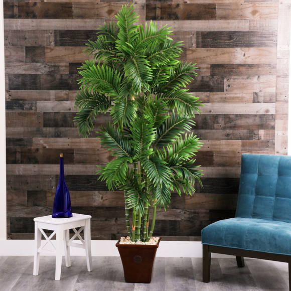 71 Areca Palm Artificial Tree in Brown Planter - SKU #T1278 - 2