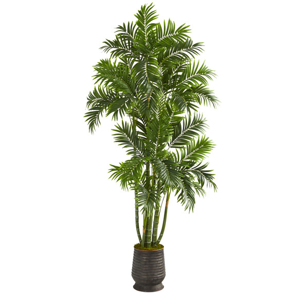 70 Areca Palm Artificial Tree in Ribbed Metal Planter - SKU #T1279