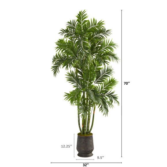 70 Areca Palm Artificial Tree in Ribbed Metal Planter - SKU #T1279 - 1